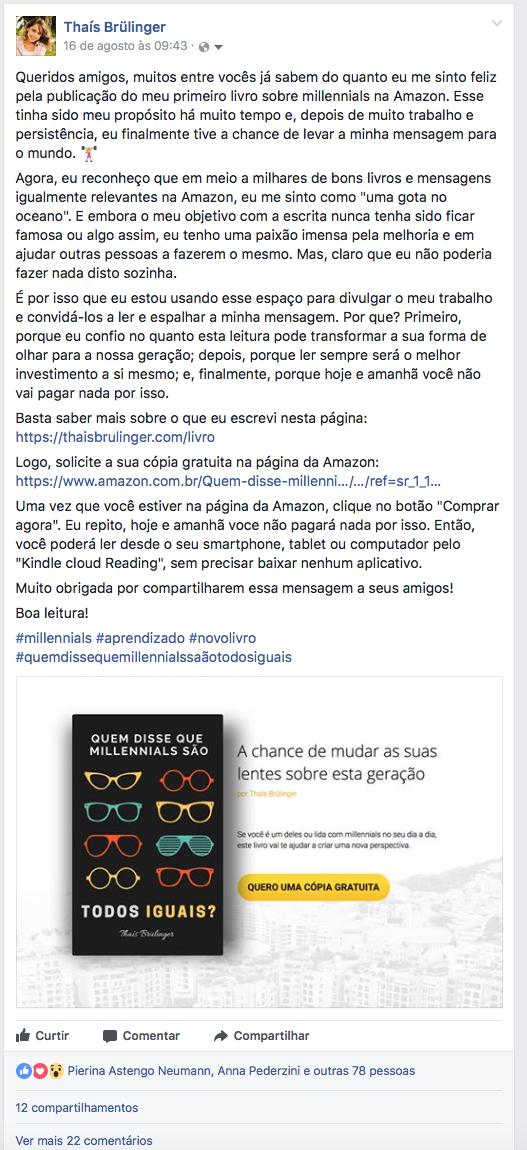 A minha postagem no Facebook sobre a publicação do livro.